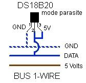 Schéma de câblage du DS18B20 en mode parasite