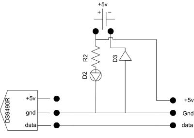 Schéma de l'injecteur 5V dans le bus 1-wire