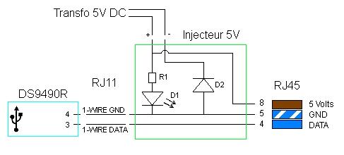 Schéma de l'injecteur 5 Volt dans le 1-wire