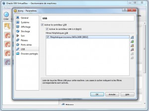 Configuration de l'host usb sous virtualbox
