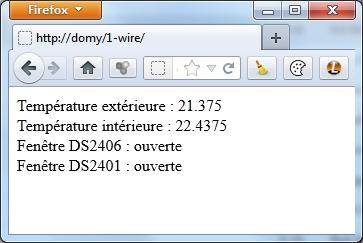 Page PHP de requêtes 1-wire